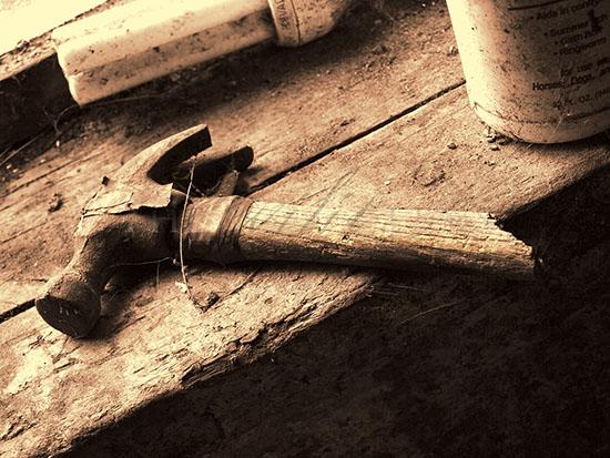 photograph of broken hammer